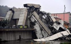 Imágenes del derrumbe de un puente en autopista en Italia