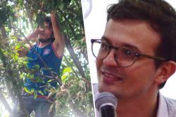 Escuche la charla entre activista trepado en un árbol en Bucaramanga y Manuel Azuero