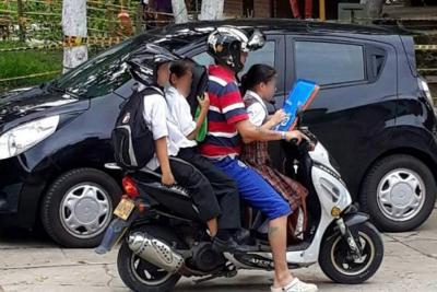 Denuncian sobrecupo de menores en motocicleta en Bucaramanga