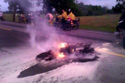 Dos personas murieron calcinadas en accidente en Santander