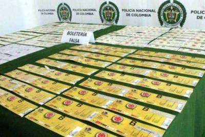 Incautan 500 boletas falsas del partido entre Colombia y Brasil