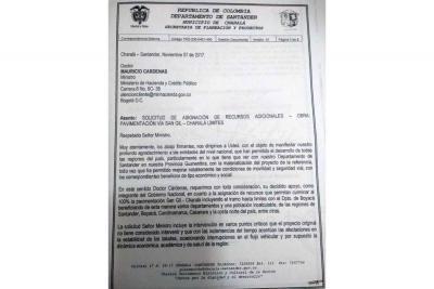 Solicitaron recursos para la vía San Gil - Charalá - Límites