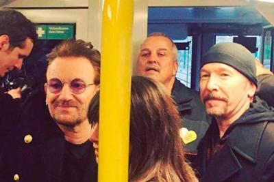 U2 sorprendió con concierto a pasajeros del metro de Berlín