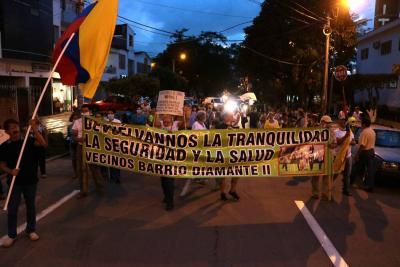Diamante II protestó por el alto flujo vehicular en sus vías