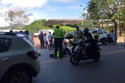 Accidente en Piedecuesta deja un policía herido