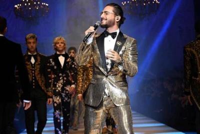 Maluma presente en desfile de moda de Dolce & Gabbana
