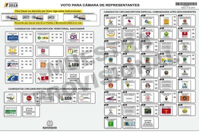 Así quedaron los tarjetones y las listas para la Cámara en Santander