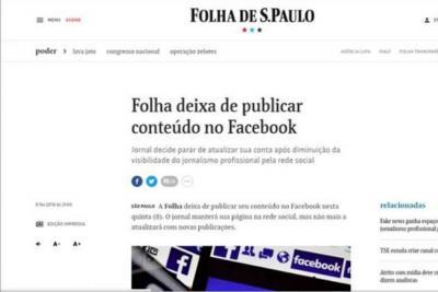 El diario Folha de São Paulo no publicará su contenido en Facebook
