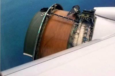 Video registró cómo se desintegra una turbina de un avión en pleno vuelo