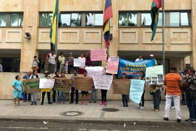 Veredas protestaron por abandono de la Alcaldía de Bucaramanga