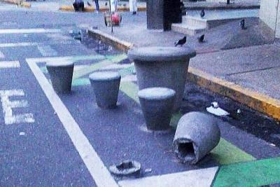 Siguen los daños en obras de urbanismo táctico en Bucaramanga
