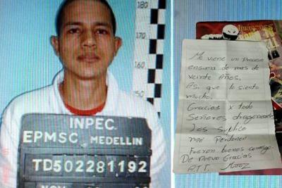 Esta es la carta que dejó un preso a guardianes antes de fugarse de cárcel de Antioquia