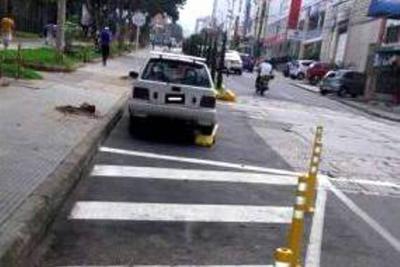 Se Inició el control para multar en Bucaramanga a parqueados en la ciclorruta