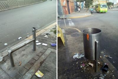 Denuncian daños y robos de canecas de basura en la Quebrada Seca