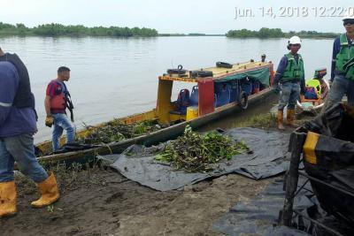 125 barriles de crudo fueron vertidos en  el río Magdalena