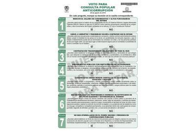 Lista la tarjeta electoral de la Consulta Anticorrupción