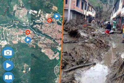 Vea el mapa de las emergencias tras el torrencial aguacero en San Gil
