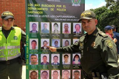 Policía de Santander presentó los veinte más buscados
