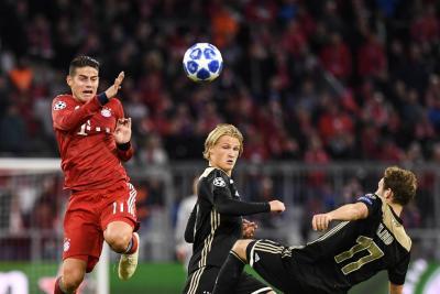 Con James en la cancha, el Bayern empató ante el Ajax