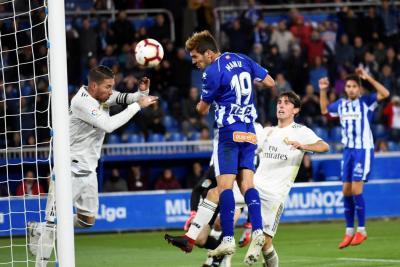 Con este cabezazo de Manu García Alavés, después de 87 años, volvió a derrotar al Real Madrid en la Liga de España.