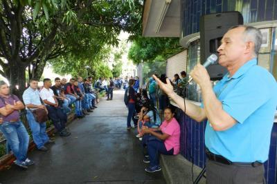 En defensa del presupuesto para las universidades públicas estuvieron presentes los integrantes del Sena Barrancabermeja. José Castrillón fue uno de los líderes de la jornada.