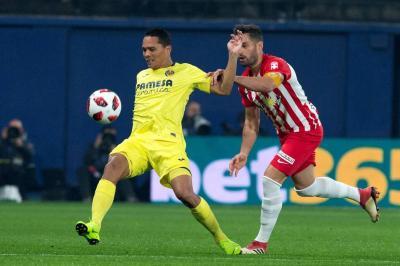 El delantero colombiano Carlos Bacca anotó dos goles en la victoria 8-0 de su equipo, Villarreal, ante Almería, en la Copa del Rey.
