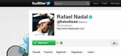 Siguen en aumento los seguidores de Rafael Nadal tras abrir su cuenta de Twitter