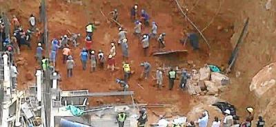 Nueve personas quedaron atrapadas en derrumbe en el Centro de Bucaramanga
