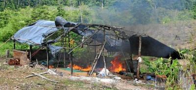 Fueron destruidas tres cocinas para el procesamiento de coca