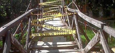 Cierran provisionalmente el paso por el puente colgante