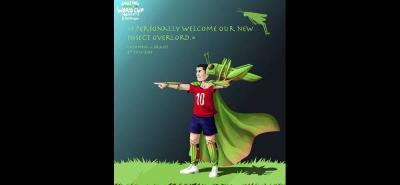 """Caricatura publicada en la web del periódico británico Daily Mail. Traduce: """"doy la bienvenida a nuestro nuevo señor de los insectos"""", pues un grillo se posó sobre el 10 en el juego Colombia-Brasil."""