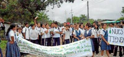 Los estudiantes esperan recorrer las calles del corregimiento Yarima este lunes.