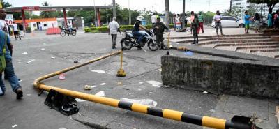 Algunos daños generados por los disturbios en Buenaventura durante las protestas ocurridas en la zona portuaria.