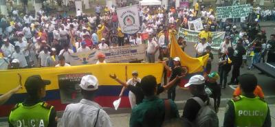 Terminó la marcha en Bucaramanga por la vida de los policías .