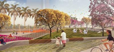 Esta es una proyección de cómo se vería el nuevo parque que se construirá en la Ciudadela Real de Minas.