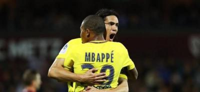 Sin Neymar, el PSG goleó al Angers de la mano de Cavani y Mbappé.