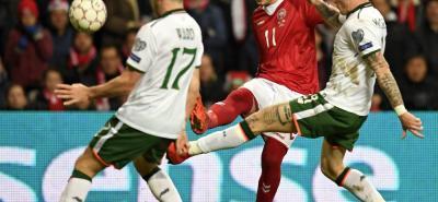 Dinamarca igualó 0-0 ante Irlanda, en una de las llaves del repechaje europero.
