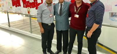 William Álvarez, director del programa de Fonoaudiología UMB; Alberto Cadena Angarita, rector UMB; Cristián Delgado y David Carrillo, docente UMB.