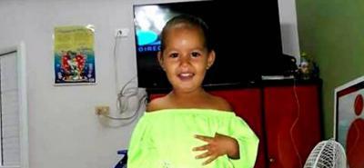 Esta es la imagen que desde ayer difunden los familiares de la niña Solila Shirley Dayana Cardona Fontalvo, de 3 años de edad, raptada en Santa Rosa.