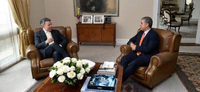 Presidente Santos recibe a Iván Duque en la Casa de Nariño