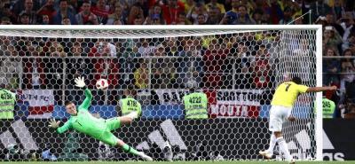 En este cobro de Carlos Bacca, que atajó el arquero Jordan Pickford, se terminó el sueño mundialista de la selección Colombia en Rusia 2018.