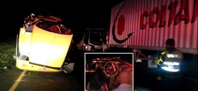 En el accidente se vieron involucrados tres vehículos: un camión, un carrotanque y una buseta. El conductor del cisterna perdió la vida tras quedar aprisionado entre los hierros.