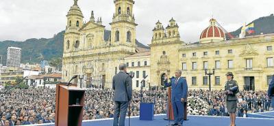 Iván Duque Márquez durante la ceremonia de investidura en la Plaza Bolívar de Bogotá, en donde asumió la Presidencia de la República para el periodo 2018-2022.