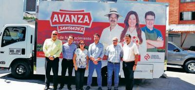 Rafael Mendoza, Édgar Lesmes, Mireya Granados, Juan Camilo Beltrán Domínguez, presidente ejecutivo de la Cámara de Comercio de Bucaramanga, Charlie Youssef Najm y Adolfo Botero.