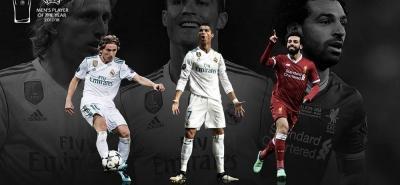 Con esta imagen en su página web, la Uefa dio a conocer los nombres de los nominados a jugador del año: el croata Luka Modric, el portugués Cristiano Ronaldo y el egipcio Mohamed Salah.