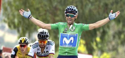 Nairo Quintana, Rigoberto Urán, Sergio Luis Henao y 'Supermán' López llegaron con el mismo tiempo de Valverde.