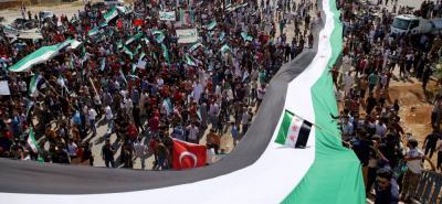 """Las manifestaciones se han repetido en otros puntos de la provincia, donde se han gritado consignas como """"No a la Constitución, ni a la reconstrucción, hasta la caída de Bachar al Asad"""""""
