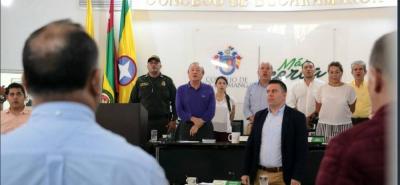 El alcalde de Bucaramanga, Rodolfo Hernández, asistió a la instalación de las terceras sesiones ordinarias 2018 del Concejo de la ciudad, pero no se le permitió el uso de la palabra en el acto.