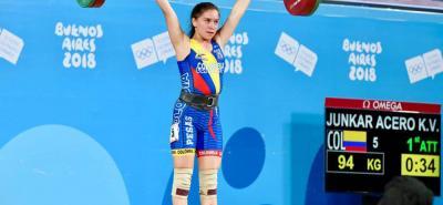 Kely Valentina Junkar, en levantamiento de pesas, le entregó a Colombia una nueva medalla de plata en los III Juegos Olímpicos de la Juventud que se disputan en Buenos Aires.