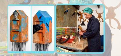 Son 31 piezas tanto de pintura como de escultura, entre ellas, casas que representan a las mujeres de la familia de la maestra Fabiola Flórez Roncancio.